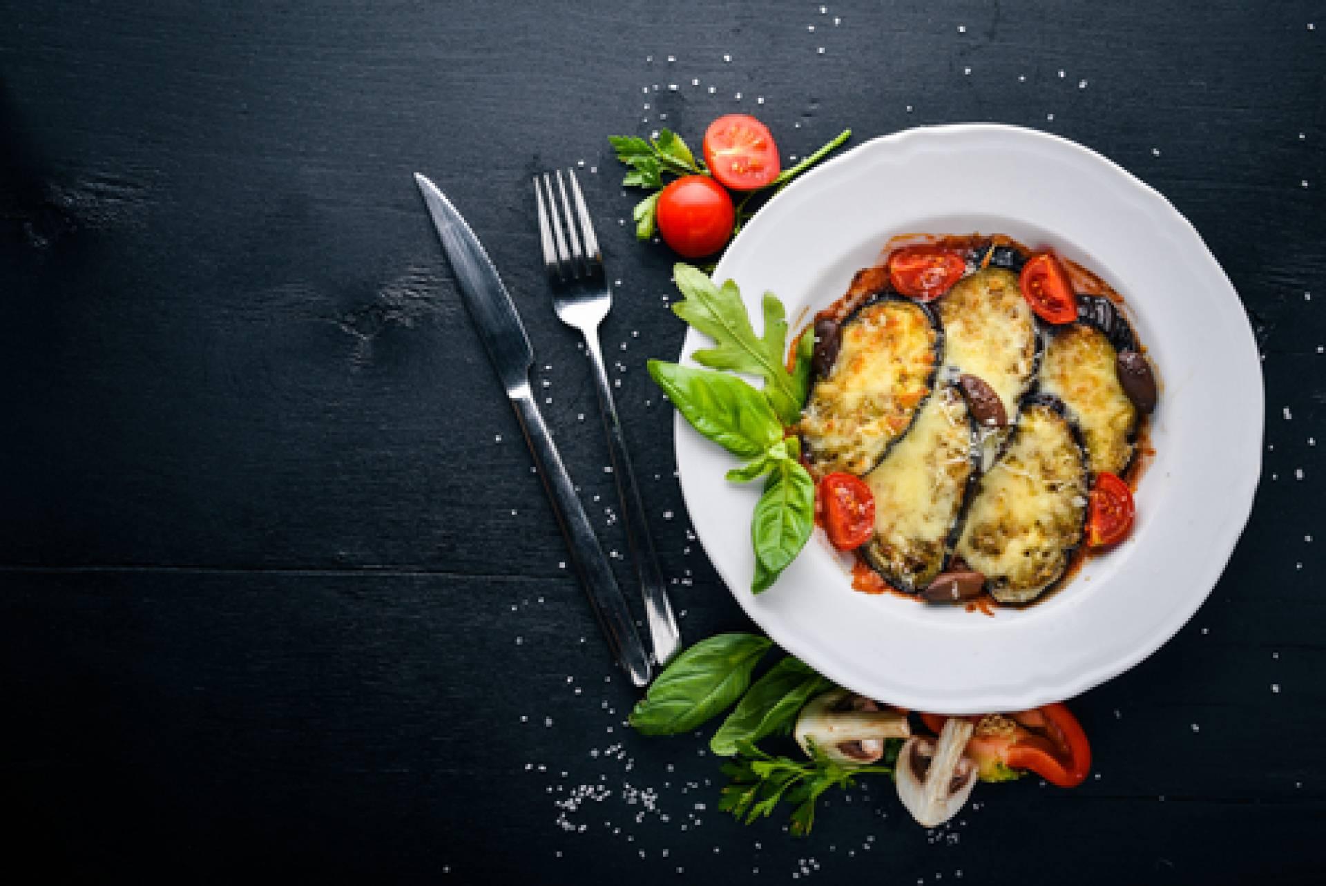 Eggplant Parmesan with zucchini noodles