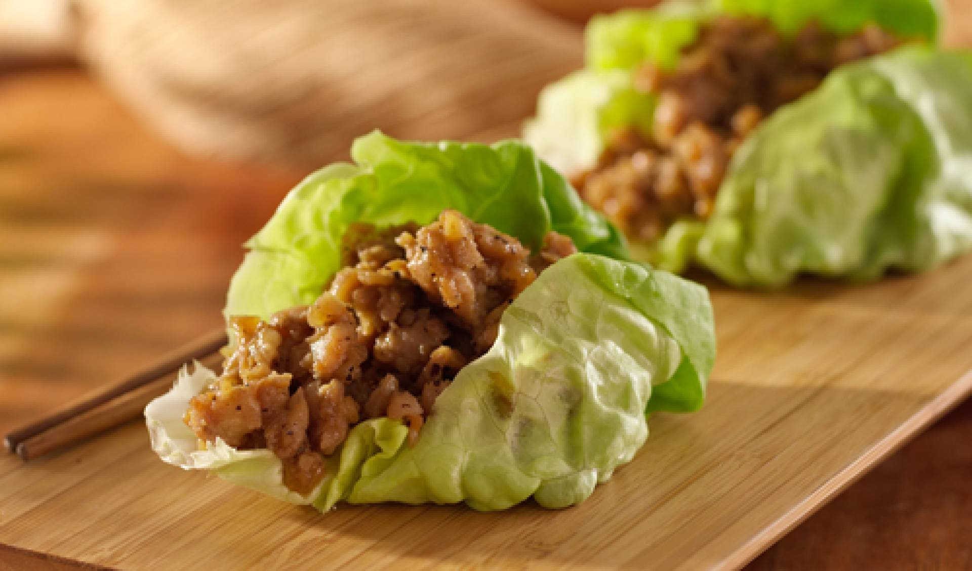Chicken Caesar lettuce wraps