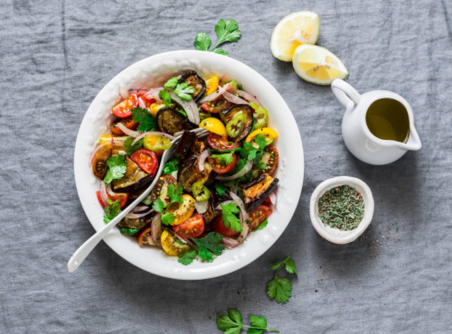 Marinated Eggplant Salad-salmon