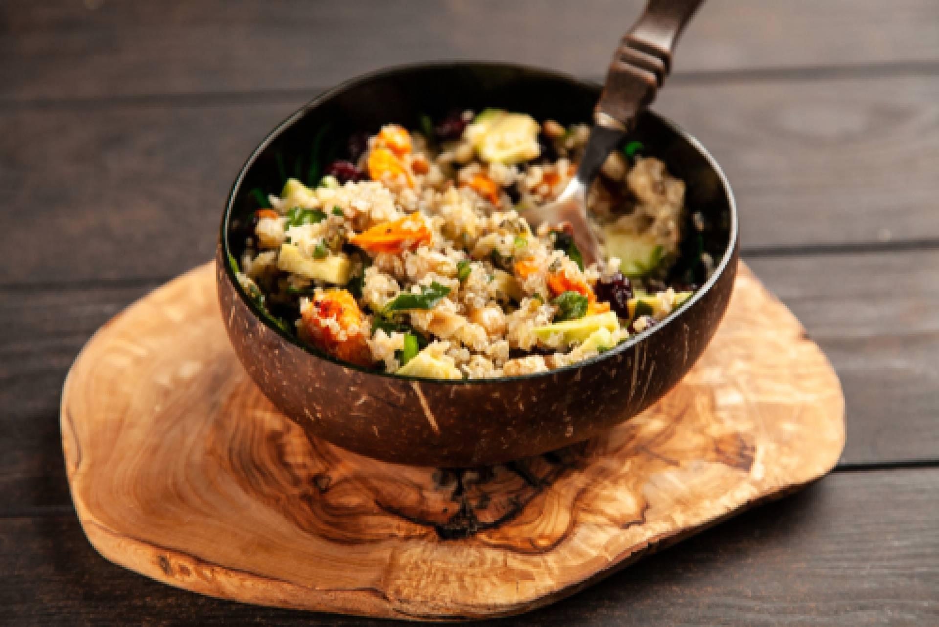 Ancient Grain Salad-Salmon Burger